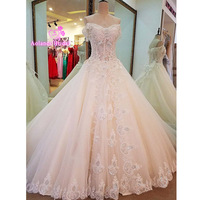2017 New Sleeveless Pearl Ivory Lace Appliques Crystals Butterfly Princess Bride Wedding Dresses Elegant Wedding Gown Real Photo