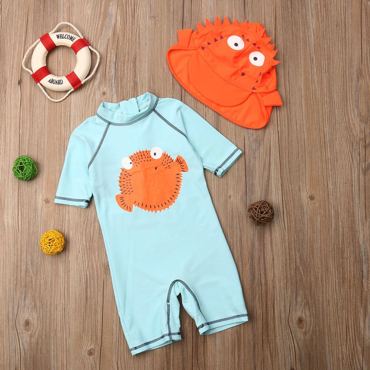 2019 Brand New 1-6Y Toddler Kids Baby Girls Boys Puffer Print Swimwear +Hats 2PCS Long Sleeve Swimsuit Sun Block Bathing Suit