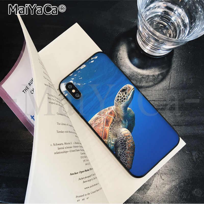 MaiYaCa животного Морская Черепаха Черный Мягкая резина, термопластичный полиуретан чехол для телефона чехол для Apple iPhone 8 7 6 6 S Plus X XS Макс 5 5S SE XR крышка