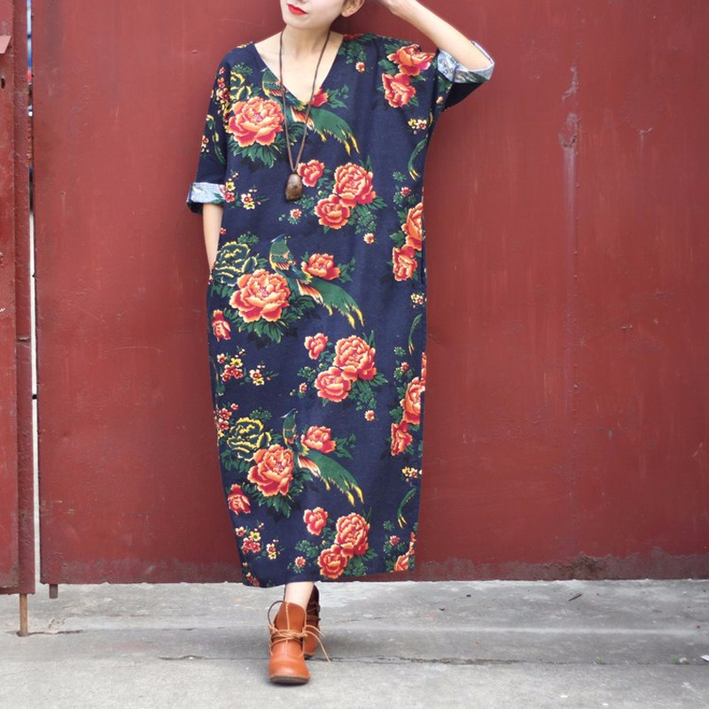 Pregnant Women Dress 2018 Maternity Clothing Casual Loose V Neck 3/4 Sleeve Floral Printed Pregnancy Vestidos Plus Size