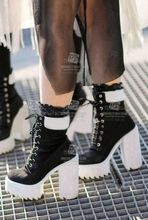 Womens 2015 winter boots ankle leather boots up platform motorcycle boots women fashion Martin boots metal buckle designer shoes