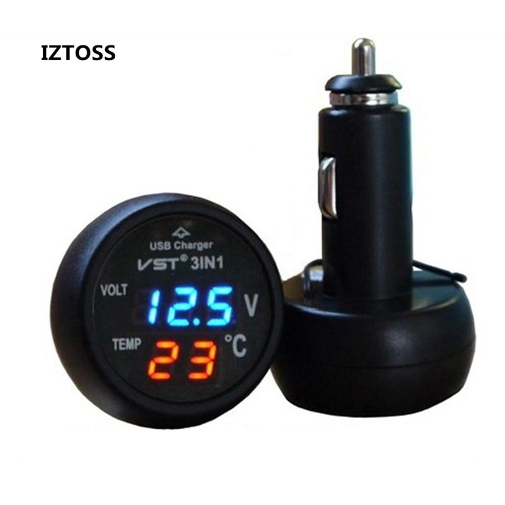 IZTOSS 3 in 1 Digital Car 12V/24V Temperature Meter Voltmeter Cigarette Lighter car Voltmeter Thermometer Auto Car USB Charger 3in1 car auto digital led thermometer usb charger cigarette voltmeter 12v 24v 3color g205m best quality