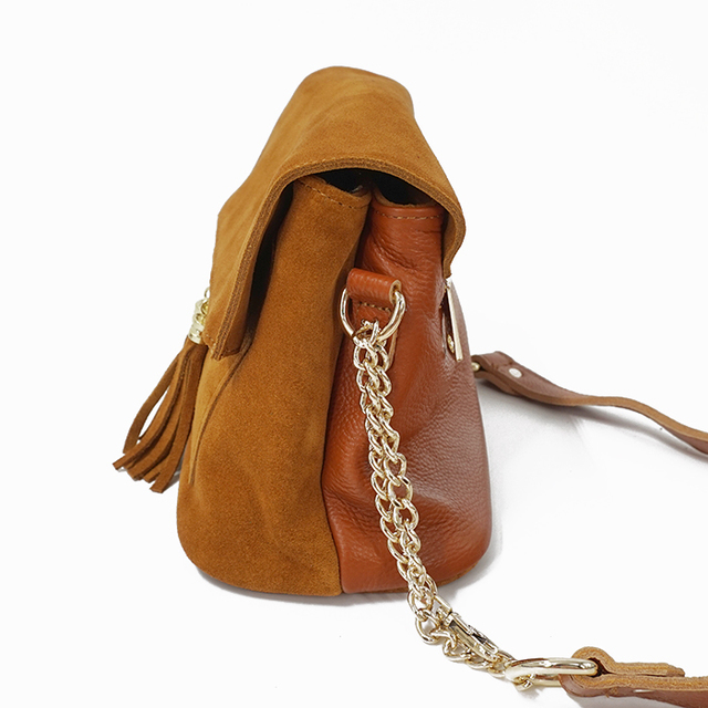 LilyHood Women Genuine Leather Fringe Shoulder Bags Fashion Cow Suede Tassel Brown Chain Multi Pockets Crossbody Bucket Bags 5