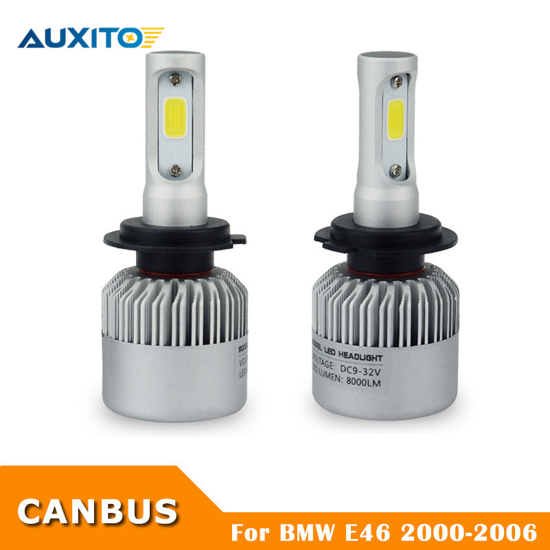 AUXITO 2X Error Free H7 LED Car Headlight Bulb Canbus Automotive Fog Light For BMW E46 M M3 2000 2001 2002 2003 2004 2005 2006 2pcs 12v 31mm 36mm 39mm 41mm canbus led auto festoon light error free interior doom lamp car styling for volvo bmw audi benz