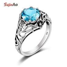Szjinao Оптовая панк высокое качество 2ct CZ синий кристалл 925 стерлингов Серебряные кольца для Для женщин Винтаж Элитный бренд ювелирных изделий в Китае