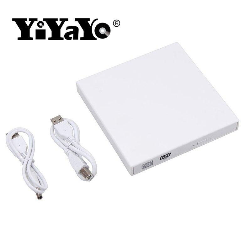 YiYaYo Unidad óptica externa DVD ROM CD RW USB 2,0 CD/DVD Combo lector de escribir portátil para computadora portátil computadora Windows7/8