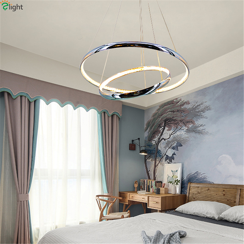 Modern Chrome Rings Led Pendant Lights Crystal Dining Room Led Pendant Light Living Room Led Pendant Lamp Hanging Light Fixtures wholesale free shipping picasso 916 ballpoint pens luxury sign pen gift for lady office and school stationery