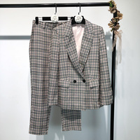 2018 Europe Style Women Plaid Blazer&Trouser Suits 2 Pieces Set Full Sleeve Long Pants Double Breasted Female Coat Elegant OL