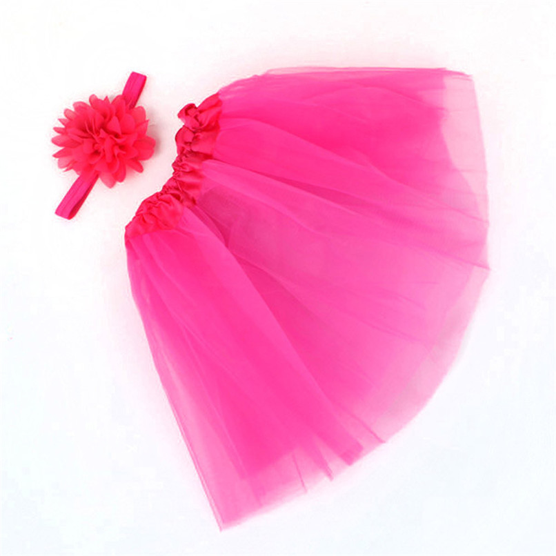 Girls Clothes Kids Girls Skirt Toddler Baby Kids Girls Solid Tutu Skirt+Flower Headband Set Party Dance Clothes jupe fille D25 (10)