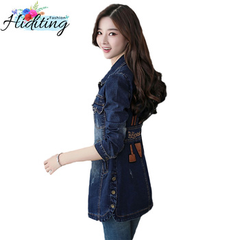 Cowgirl Jackets 2019 Spring Autumn New Slim Denim Coats Female Medium Long Fashion Long-Sleeved Denim Windbreaker Jacket WIN130