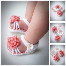 infant baby crochet Baby Flower Shoes White Spring handknit sandals Baby Girl Shoes