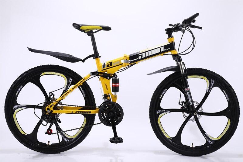 HTB1nUttSsfpK1RjSZFOq6y6nFXaa 24 26inch folding mountain bike 21 speed double damping 6 knife wheel and 3 knife wheel bicycle double disc brakes mountain bike