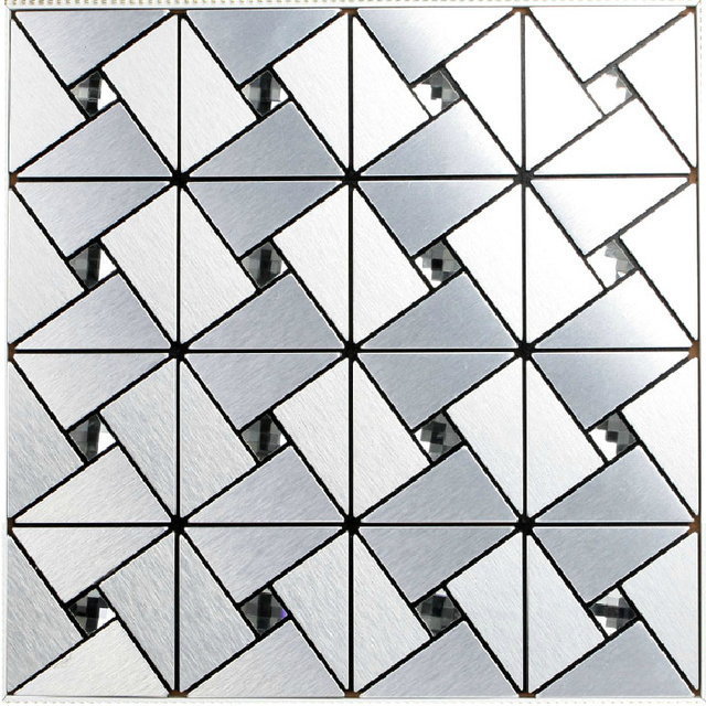 Silver Metal Aluminum Tile Adhesive Kitchen Backsplash Tiles Bathroom Mirror Wall Stickers Decor Mesh Mosaic Sheet
