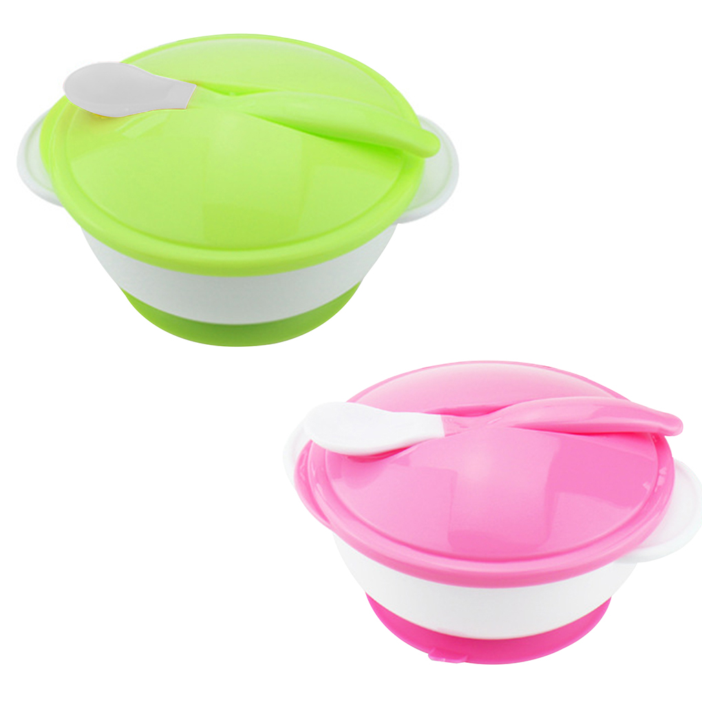 Cups, Dishes & Utensils Bowls & Plates Professional Sale Baby Feeding Bowl With Sucker And Temperature Sensing Spoon Suction Cup Bowl