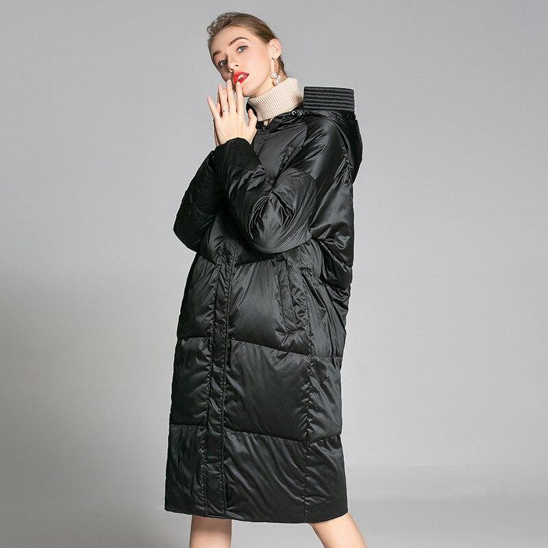 2018 nouveau type de cocon de dame vers le bas veste, hiver mi longue, genou cap À Capuchon Robe, grand blanc duvet vêtement.