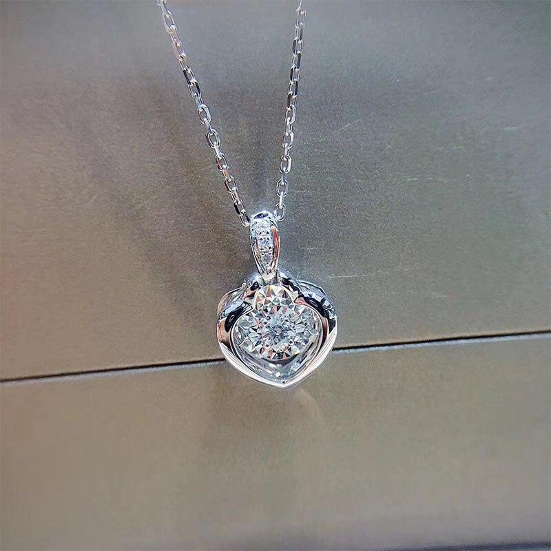ANI 18K White Gold Pendant font b Necklace b font I SI1 0 068 ct Real