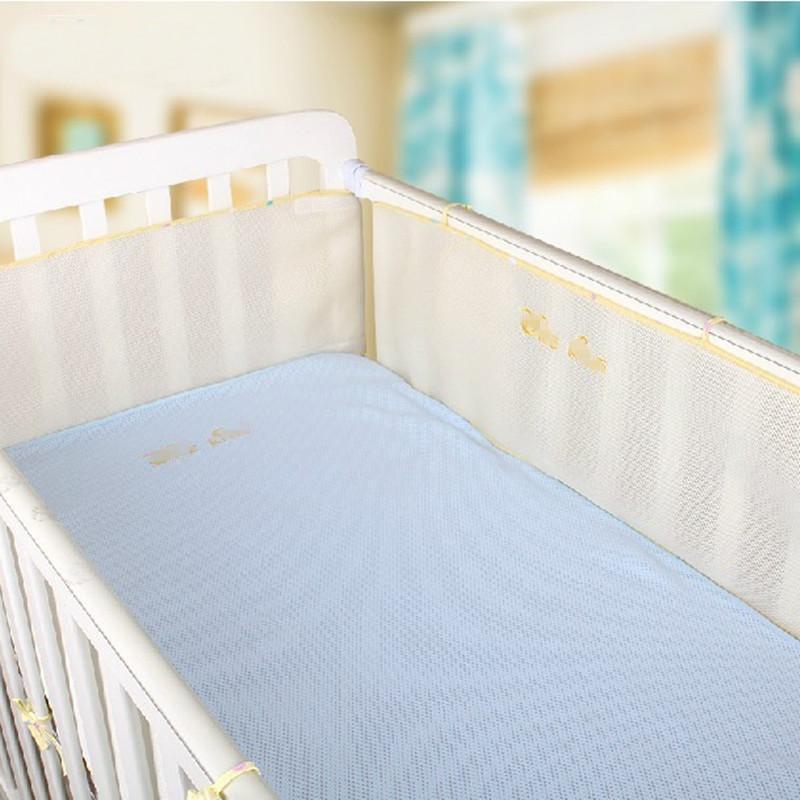Sommar Nyfödd spjälsängare Breathable Baby Breathable Mesh Crib Liner, Spädbarn Sängkläder Set 3dBumper Barnbädd Sängtillbehör