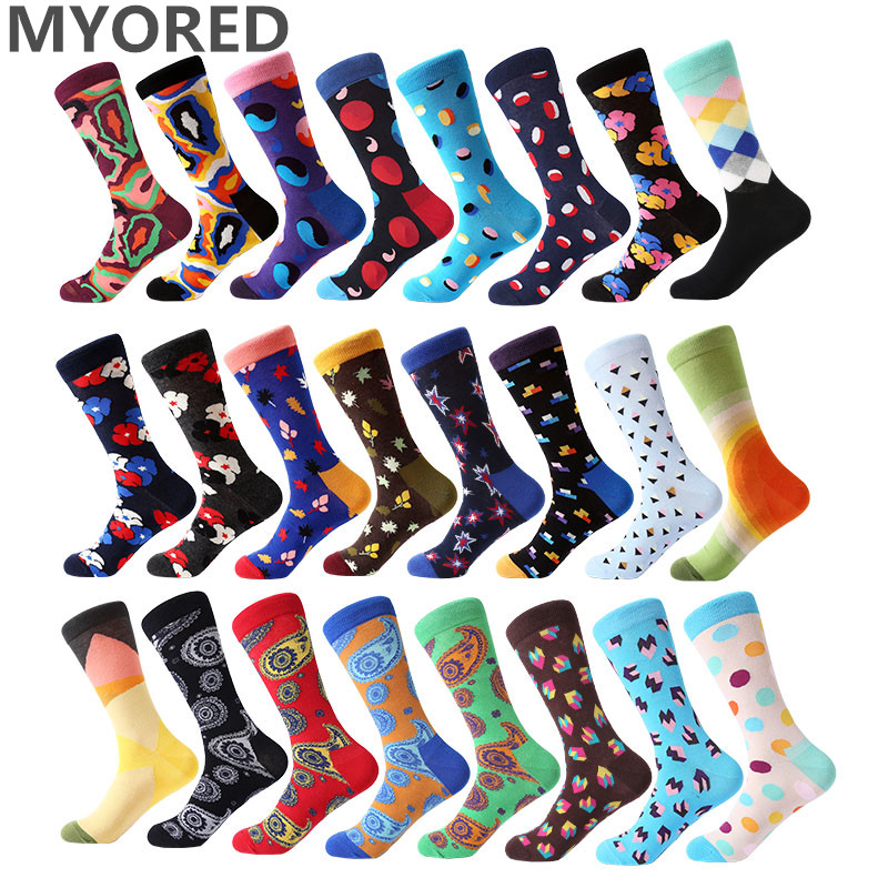 MYORED 1 Pair Funny Socks For Men Business Causal Dress Combed Cotton  Totem Harajuku Knitting Mens Colorful Crew Socks Factory
