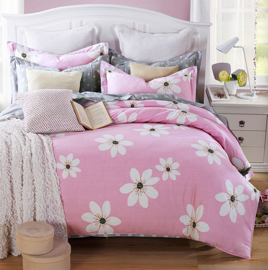 pink flower bedding promotionshop for promotional pink flower  - pastoral pink flower bedding set girlcotton full queen european countryfloral home textile bedsheets duvet cover pillow case