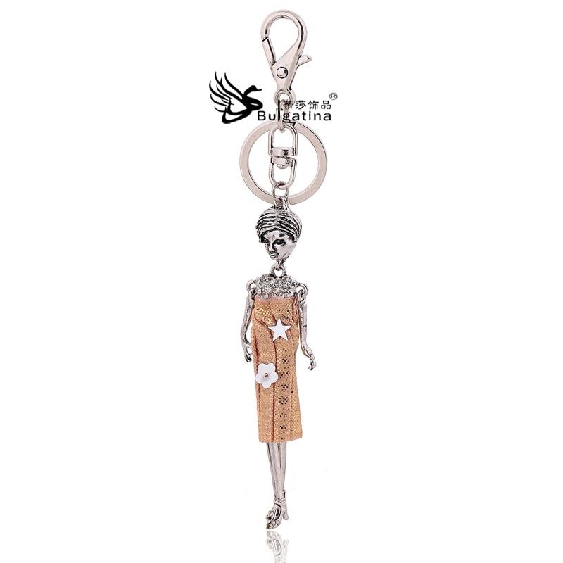 Fashion Doll Keychains Key Holder Silver Plated Figure