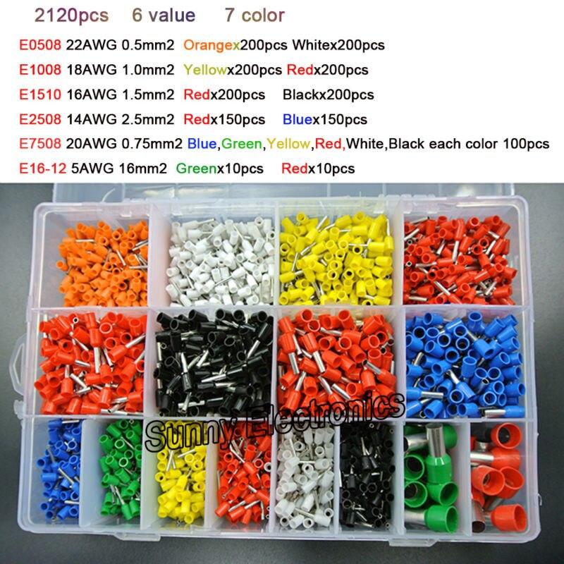 imágenes para 7 color 6 valor 2120 unids/lote Huecas Casquillos kit juego de Cables de Conector de presión Con Aislamiento Del Cable Pin End Terminal