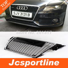 High Quality ABS Car Grille for Audi A4 B8 2009-2012 Silver Frame With Parking Sensor (Fit A4 B8 S4 RS4 8K Avant 2009-2012)