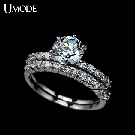 Umode 7 5mm 1 75ct Cubic Zirconia Shiny Stone Two Band