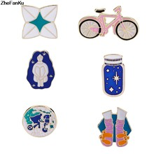 Cartoon Brooch Bicycle Girl Shoes Origami Wishing bottle Travel around the world Enamel pins Backpack Lapel Pin Badge(China)