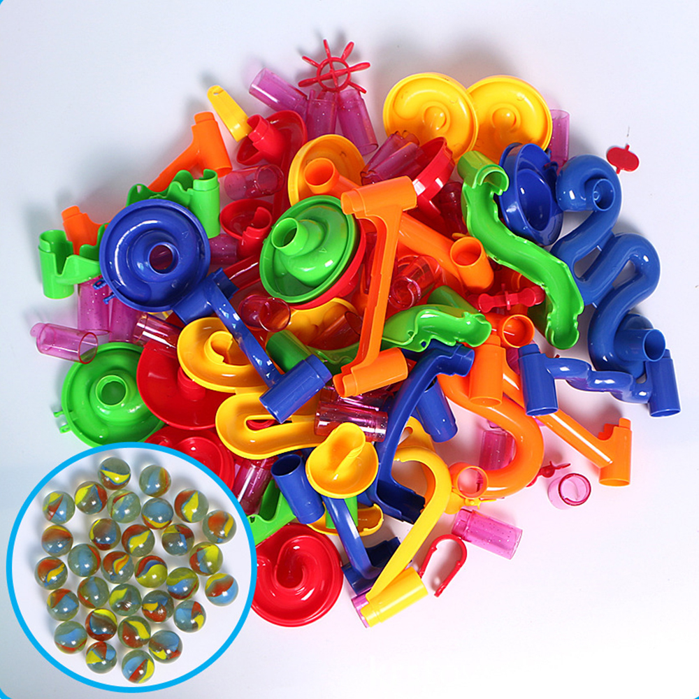 50PCS 80PCS Construction Marble Race with Maze Balls Kids Toy Gaming DIY Building Tunnel Blocks Small Components