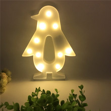 Novelty 3D Penguin Shape LED Night Light Kids Bedside Table Lamp Christmas Party Wedding Holiday Home Decor Children Cute Gifts