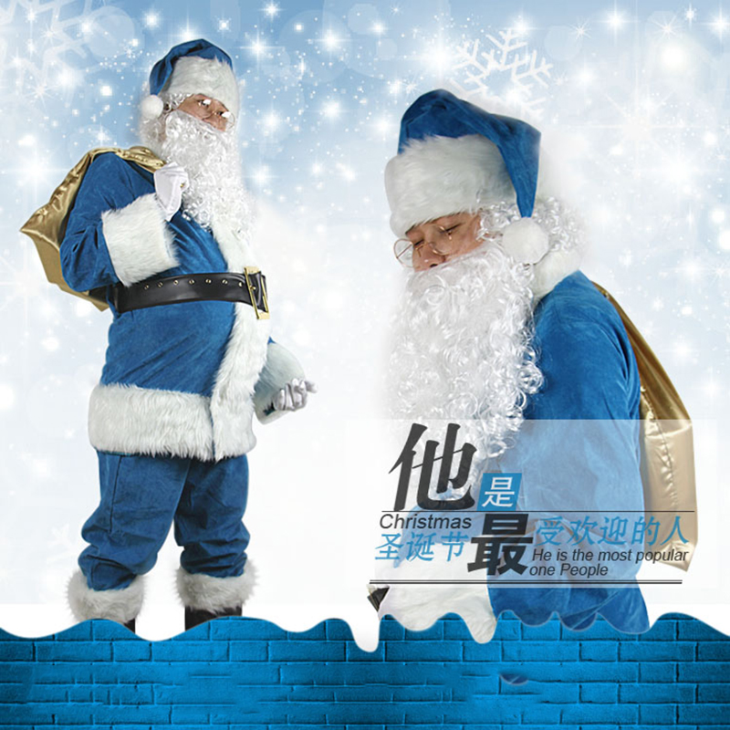 Blue Men Santa Claus Costumes Christmas Clothes Male Cosplay Xmas Suit Top Pants Hat Wig Beard