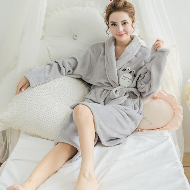 winter flannel bathrobe Nightgown Totoro cartoon lady coral fleece bathrobe clothing Home Furnishing thickened sleeve pajamas