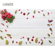 Laeacco Wooden Board Petal Flowers Portrait Grunge Photography Backgrounds Customized Photographic Backdrops For Photo Studio