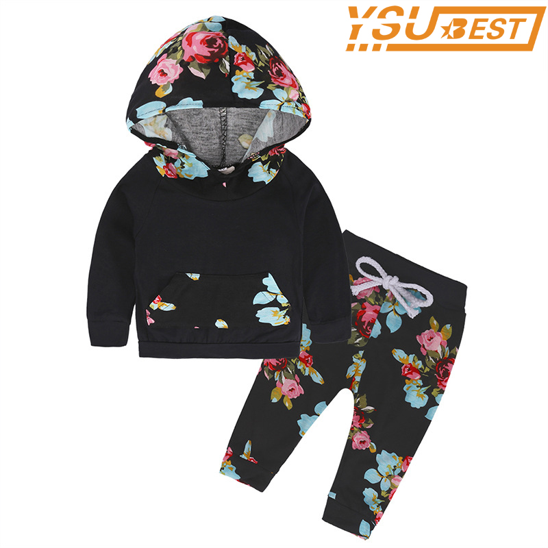 Hooded Clothes Cute Flower Cartoon Childrens Clothing Set Kids Pajamas Sets Autumn Newborn Clothes Sleepwear Home Clothing