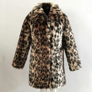 Image 5 - שיק הנשים Leopard פו פרווה מעיל החורף לעבות חם ארוך שרוול Slim פרווה מעיל הלבשה עליונה תעלה אלגנטית מעילי מסיבת מעיל