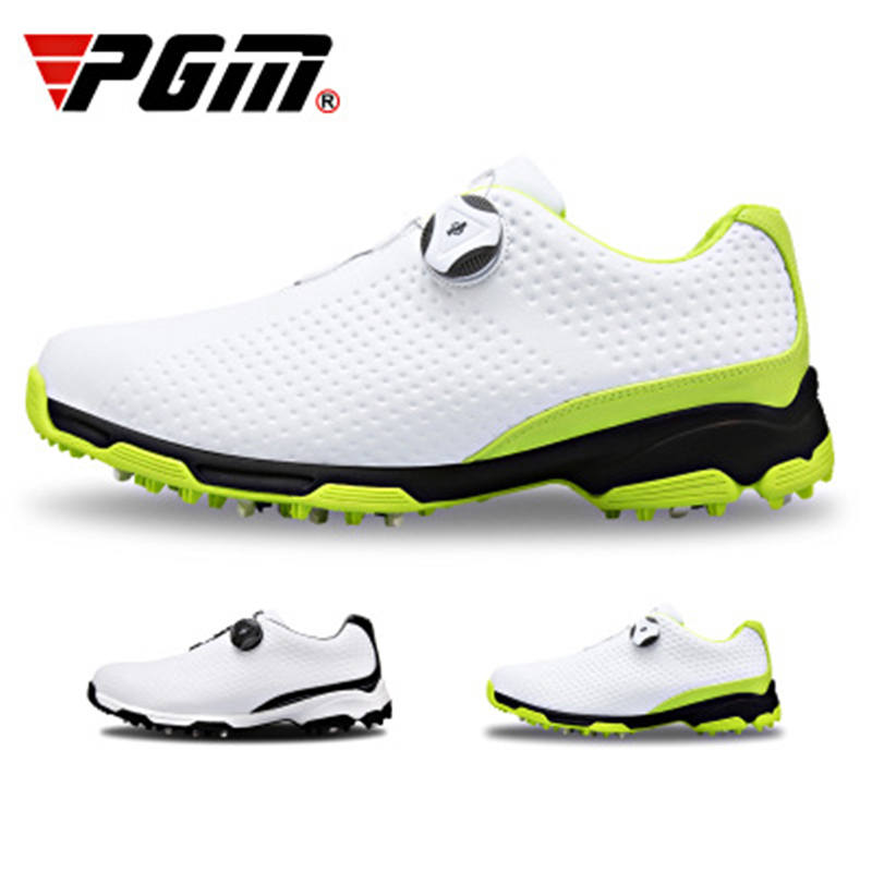 New PGM golf shoes men s waterproof shoes Double patent Rotating shoelaces 3D printing microfiber leather