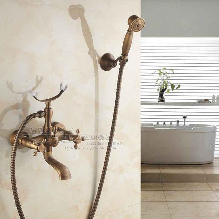 Ensemble de robinet de douche de salle de bain mural Antique cuivre téléphone Style céramique douche à main poignée unique