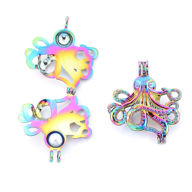 Rainbow color octopus pearl cage pendant necklace aromatherapy essential oil diffusion box fashion jewelry gift 3 pearls SC503