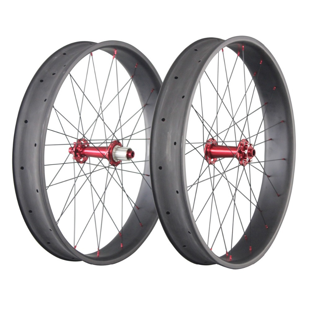 New Carbon fat bike top quality carbon fiber snow wheelset 26er 90mm carbon fat bike wheels Powerway hubs with 32h
