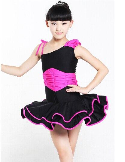 100-160cm hot rumba latin dance dress tango samba pink black red blue competition stage professional girl child dress costume