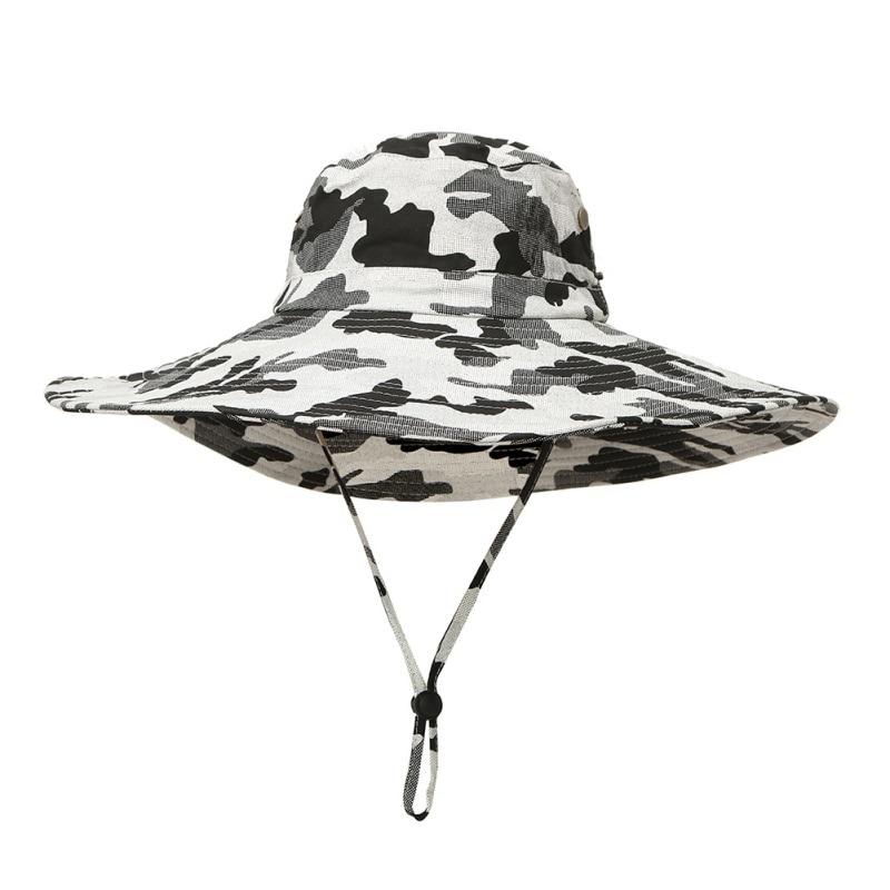 89a38ba40 hot Women Men Outdoor Fishing Sun Hat Mesh Bucket Hat Summer Hiking Cap  Wide Brim UV Protection Hat