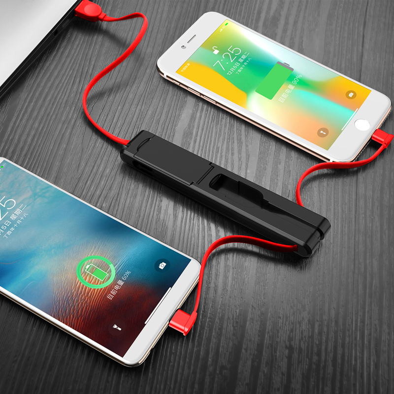 3 in 1 Micro USB Type C 8 Pin USB Cable for iPhone X 8 7 6 Creative Design Hidden USB Cable for Xiaomi Huawei