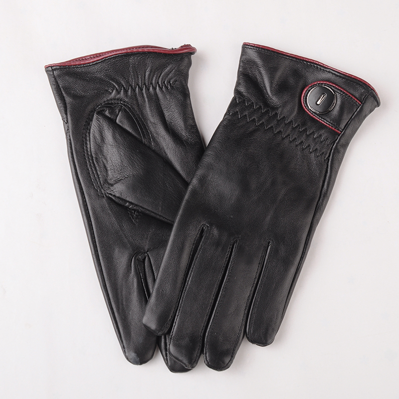 Image BEIJIGUANG Warm Leather Gloves Men Women Winter 100% Real Goat Sheepskin Button Decoration Wave Pattern Wrist Soft Mittens