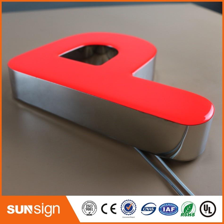 Stainless Steel Led Frontlit Illuminated Epoxy Resin Led Letter Sign