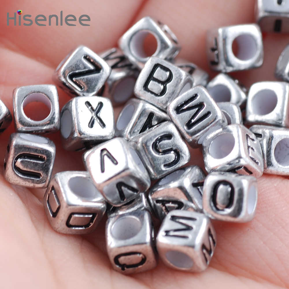 50 Letter Beads Alphabet Beads Silver Bulk Beads Wholesale Metal 6mm Oval