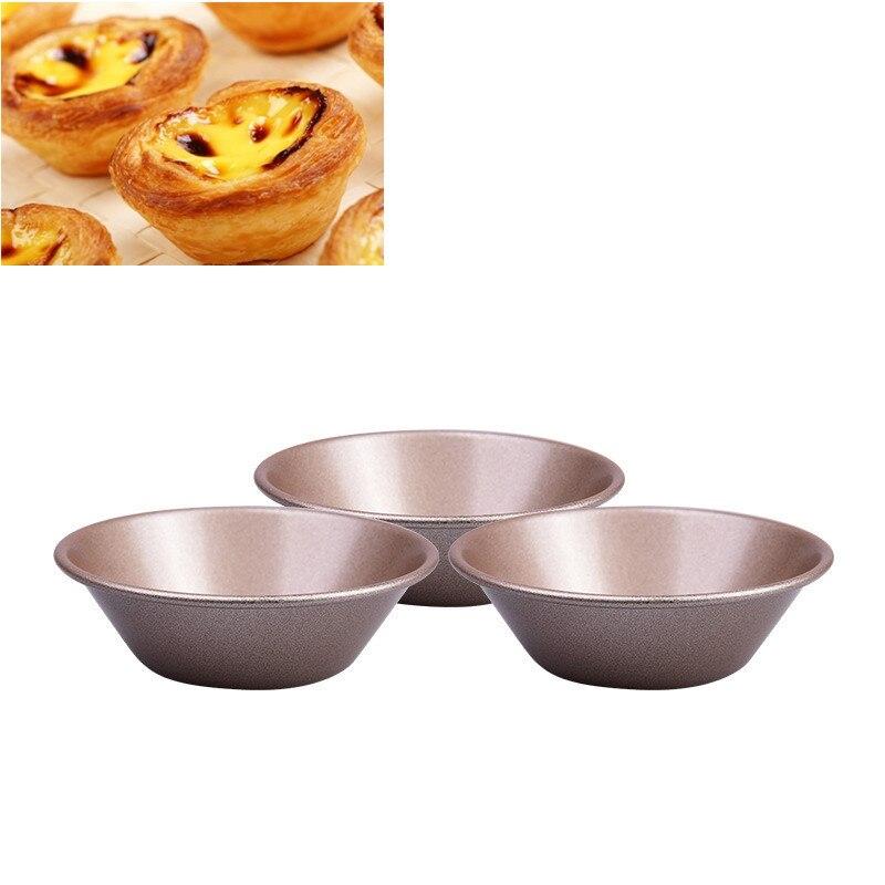 3 개 탄소 스틸 머핀 케이스 케이크 상자 컵 계란 타르트 팬 통 3D 먹고 트레이 장식 쿠키 몰리 베이킹 도구 8 센치 메터