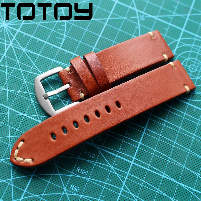 TOTOY Hand-Cut Side Folding Leather Watchbands,Brown Retro 20MM 22MM 24MM Soft Military Watch Strap, Fast DeliveryTOTOY Hand-Cut Side Folding Leather Watchbands,Brown Retro 20MM 22MM 24MM Soft Military Watch Strap, Fast Delivery