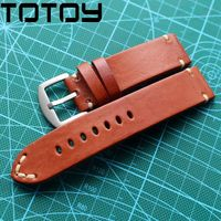 TOTOY Hand Cut Side Folding Leather Watchbands,Brown Retro 20MM 22MM 24MM Soft Military Watch Strap, Fast Delivery
