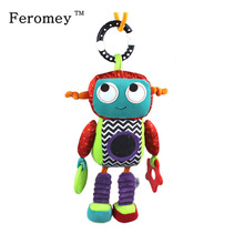Limited Promotion 32cm Vauvan Pehmeä Pehmo Leluke Sängyn Bed Sateenvarjorattaan Robot Söpö Teether Rattle Ring Bell Doll