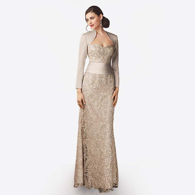 Elegant Sweetheart Gold Champagne Lace Mother of the Bride Dresses ...